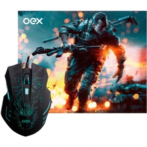 11375 - MOUSE USB GAMER PRETO COM LED COMBO STAGE OEX MC101